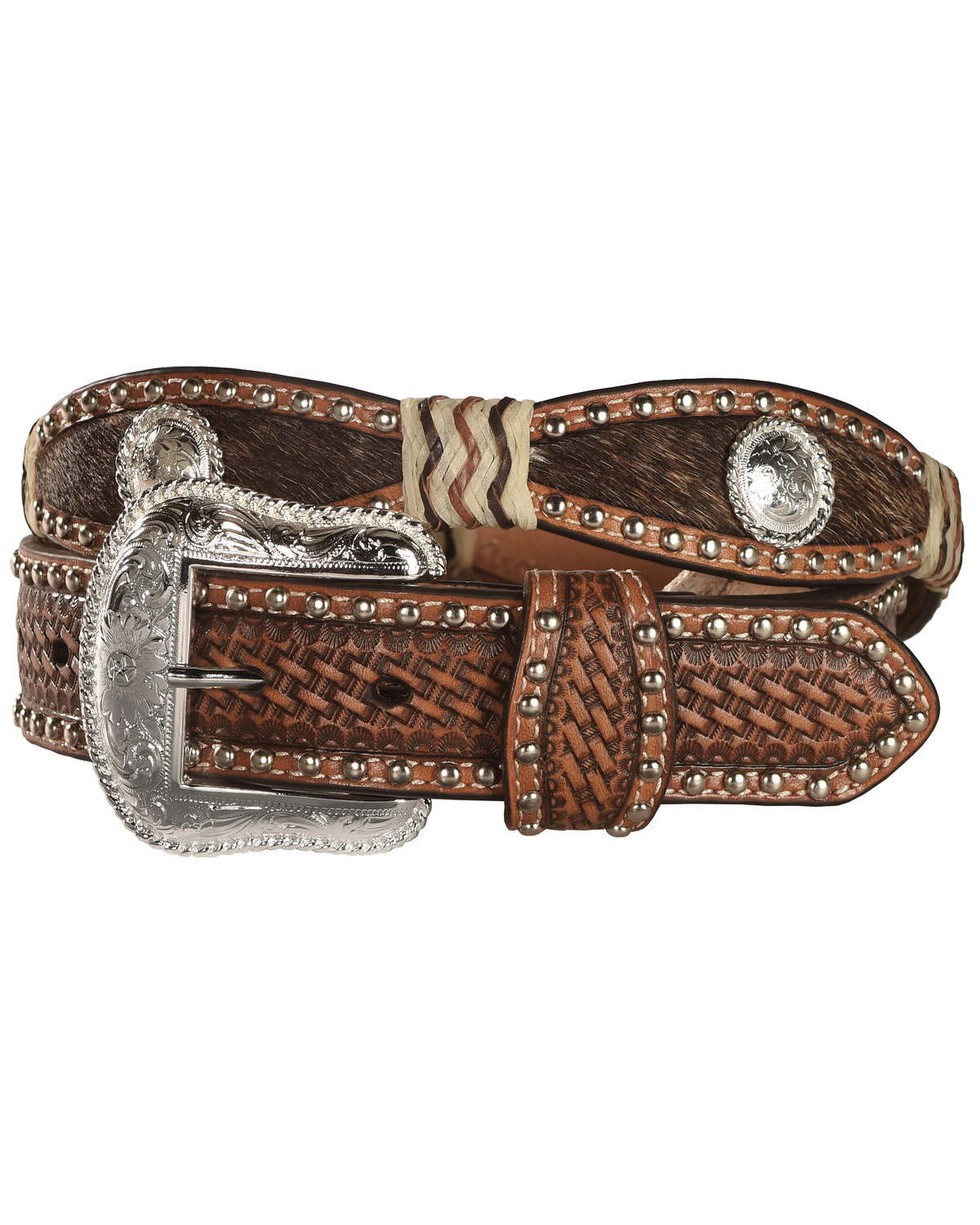 9ffbbf7bb3d Nocona Women's Scalloped and Hair on Hide Western Belt