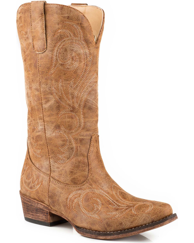 ca18ef15f40 Roper Women's Tan Riley Vintage Western Boots - Snip Toe