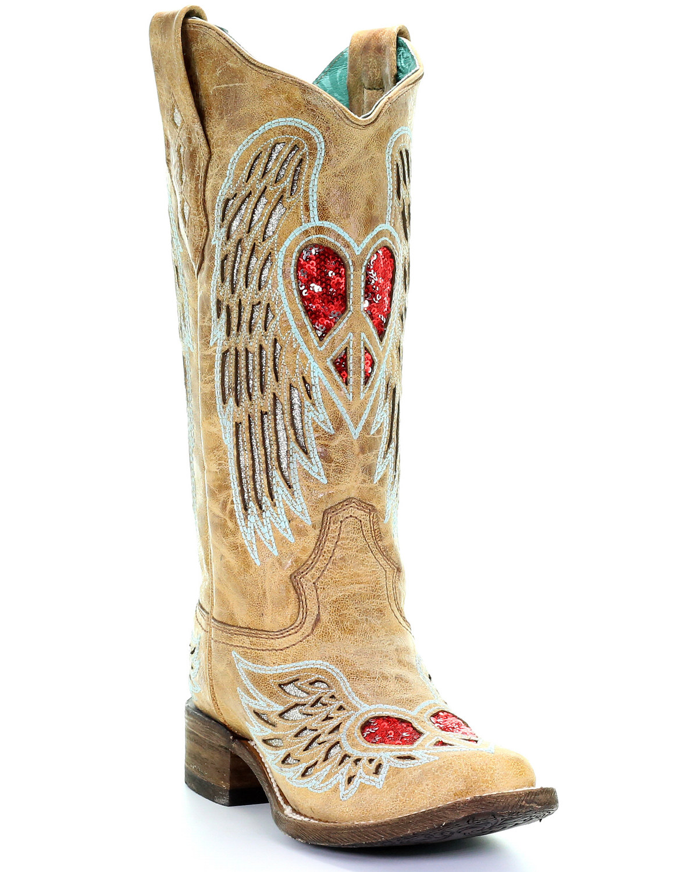 c0976961cf8 Corral Women's Heart & Wings Glitter Western Boots - Square Toe