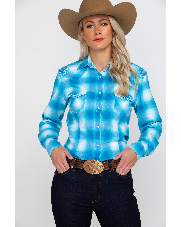 25cc2664 Zoomed Image Panhandle Women's Rough Stock Crestone Vintage Plaid Long  Sleeve Western Shirt , Turquoise ...
