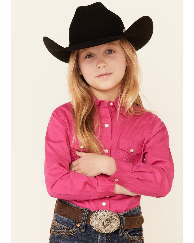 Wrangler Girls' Hot Pink Snap Long