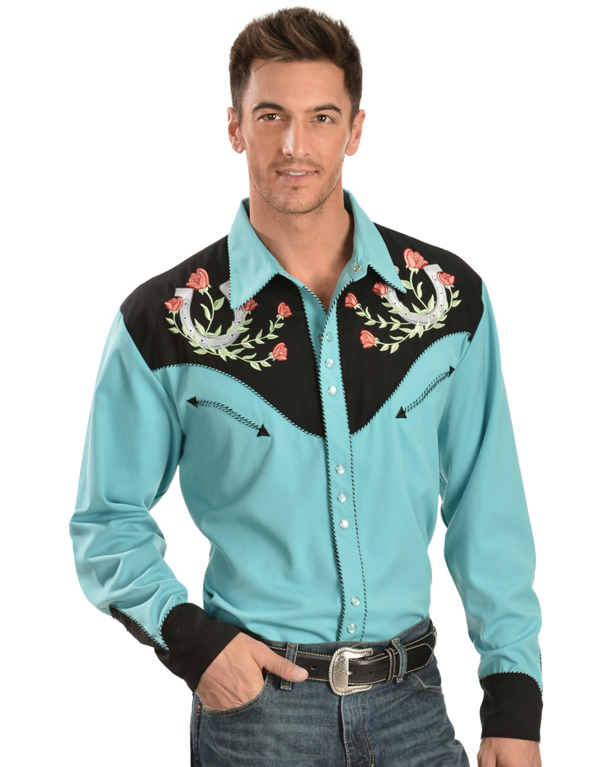 Scully Men S Horseshoe Rose Embroidered Long Sleeve Shirt