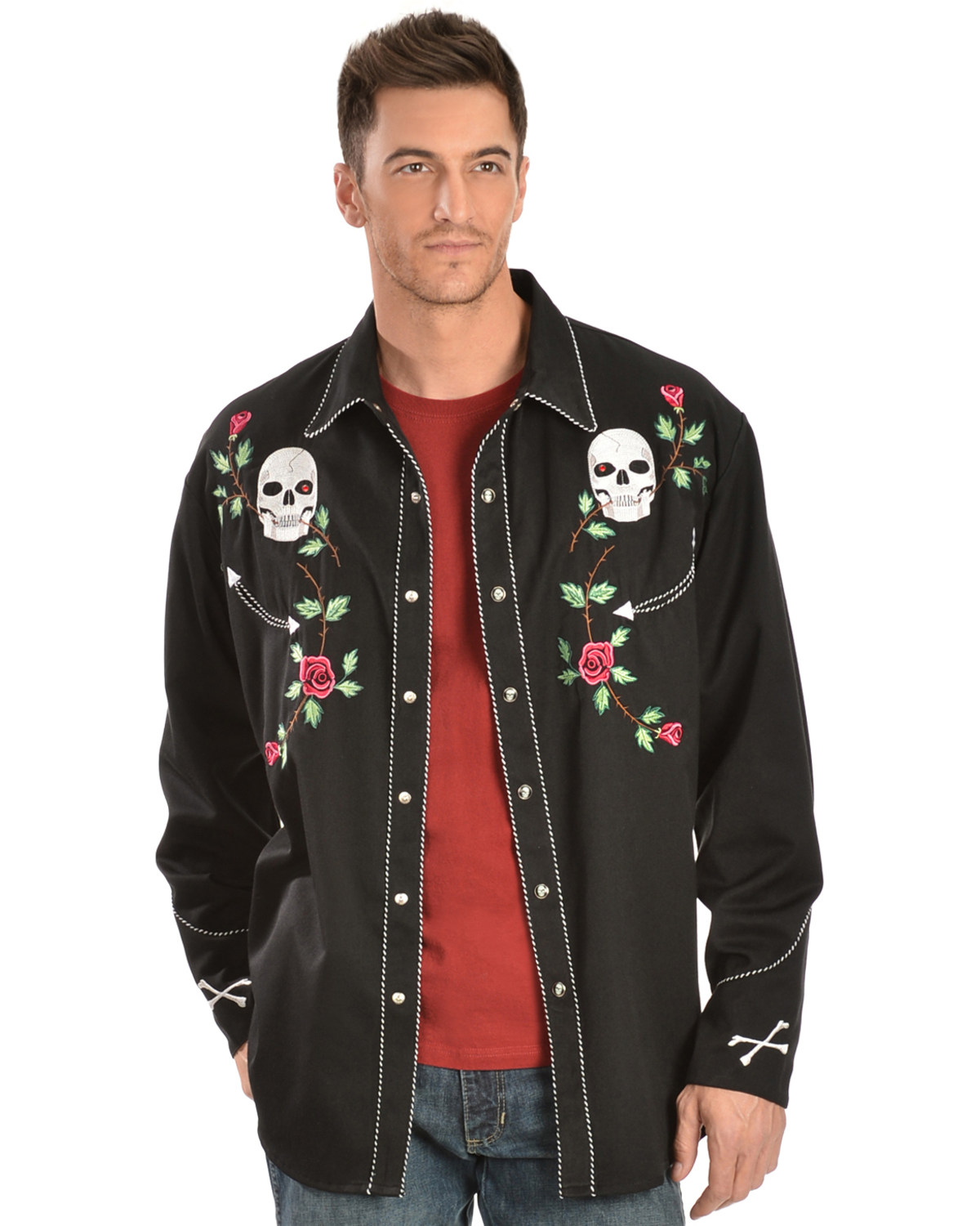 ae0a9bcf19ace7 Zoomed Image Scully Men's Skulls and Roses Western Shirt, Black, ...