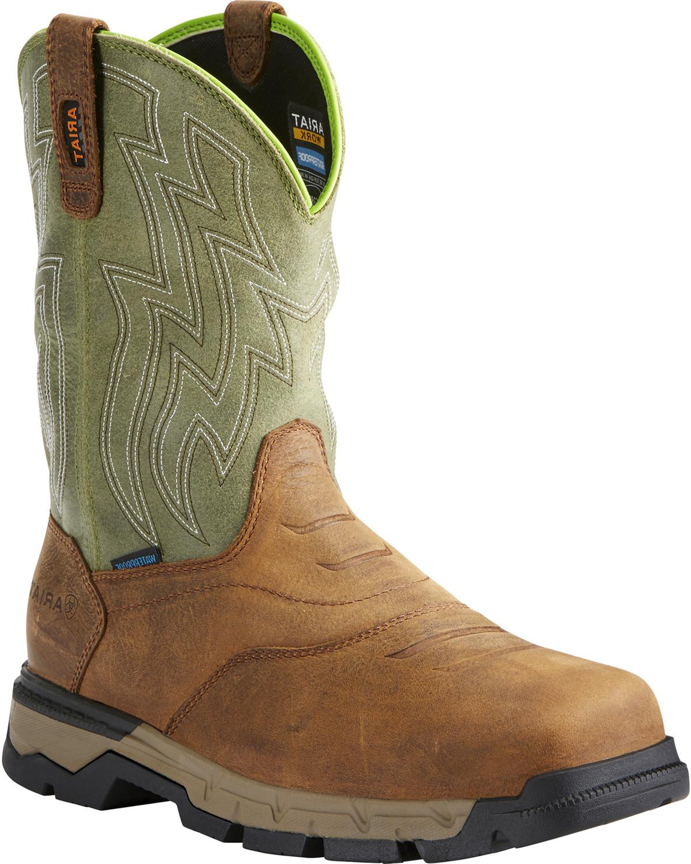 3f20fe68f5f Ariat Men's Rebar Flex H2O Brown/Green Western Work Boots - Composite Toe