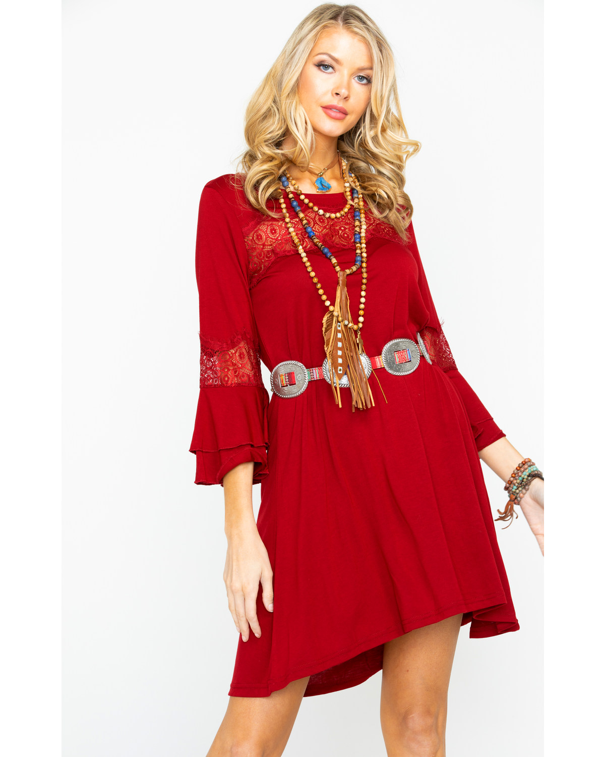 455b70fefa8e Wrangler Women s Solid Wine Lace Bell Sleeve Dress