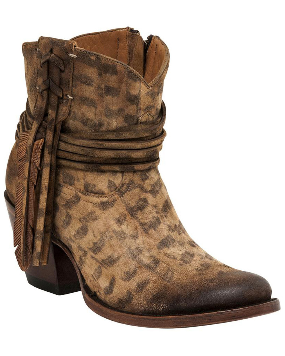 eacc405f72f65 Lucchese Women's Robyn Hand Tooled Feather Booties