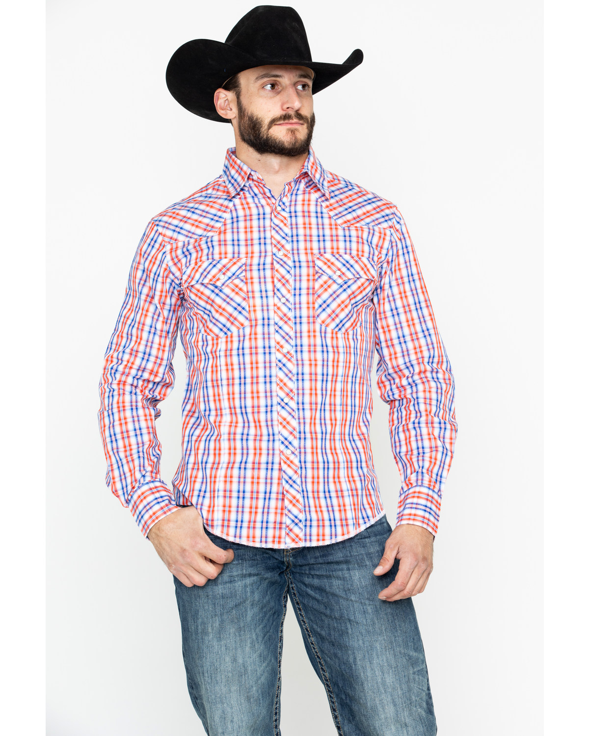 a53efe4f Zoomed Image Wrangler Men's Fashion Plaid Snap Long Sleeve Western Shirt,  Blue, ...