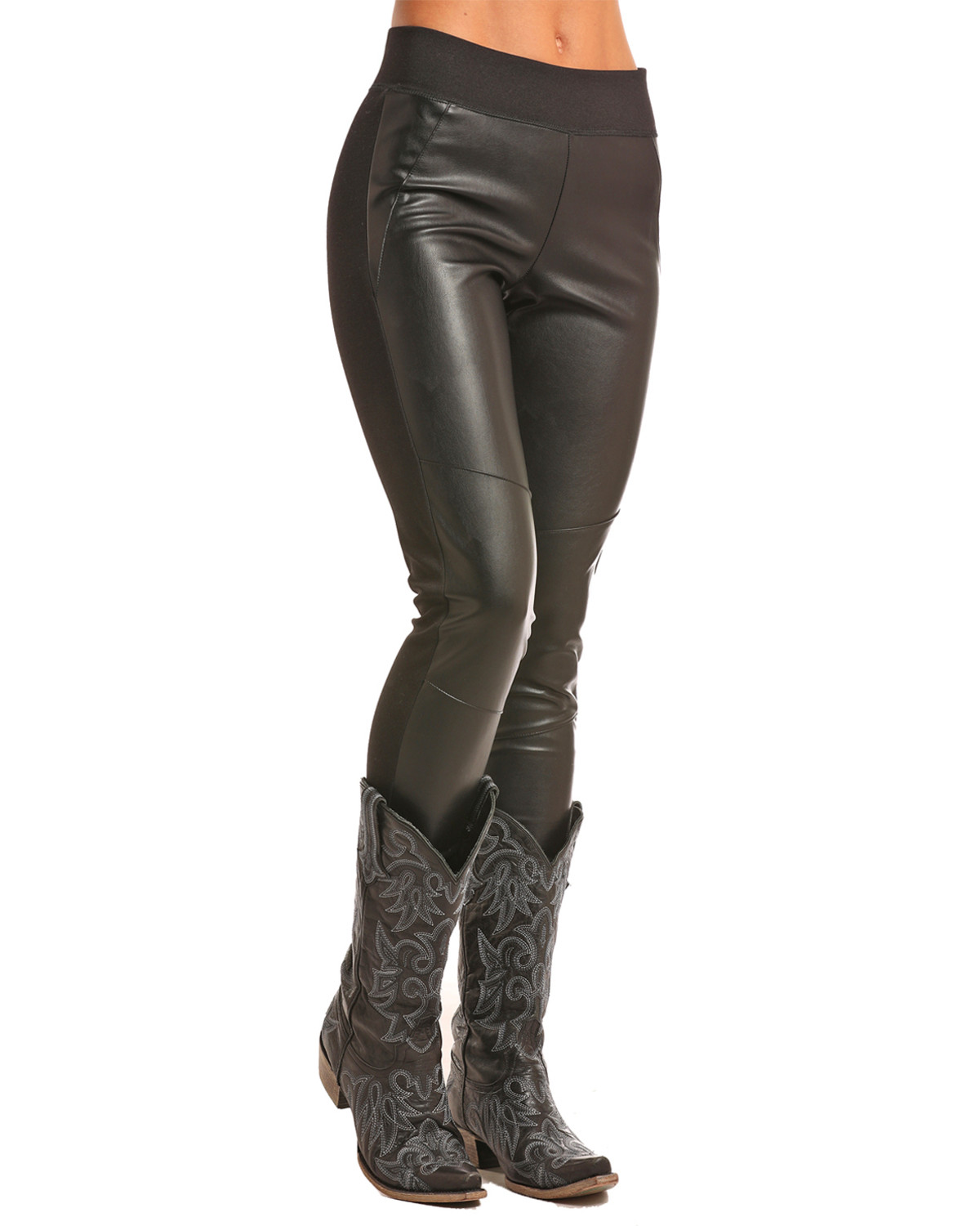 2d885d857f2a1 Zoomed Image Rock & Roll Cowgirl Women's Black Faux Leather Leggings , Black,  ...