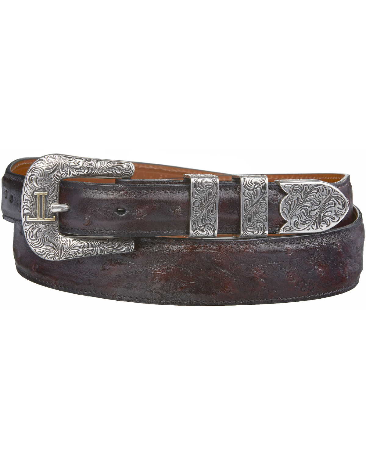 748a2ae08aa3 Lucchese Men s Black Cherry Full Quill Ostrich Leather Belt