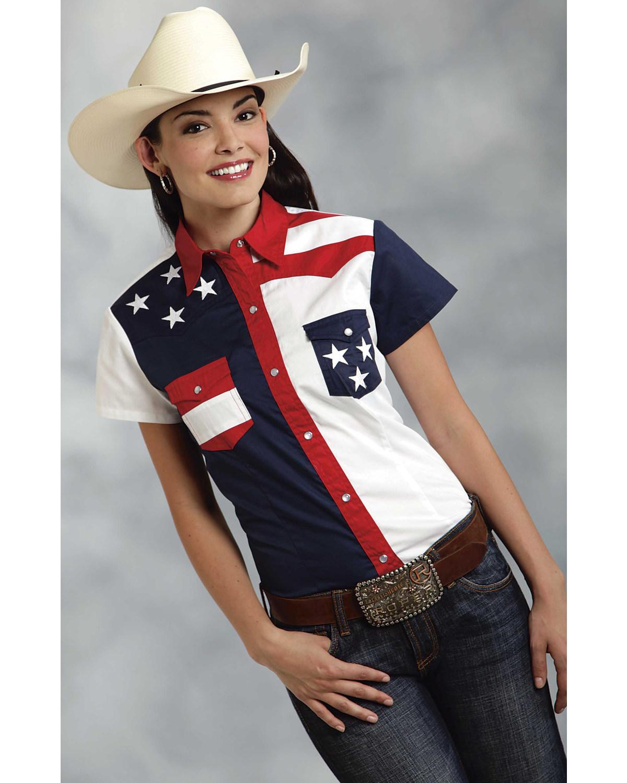 5441751c08bccd Roper Women s Short Sleeve American Flag Shirt