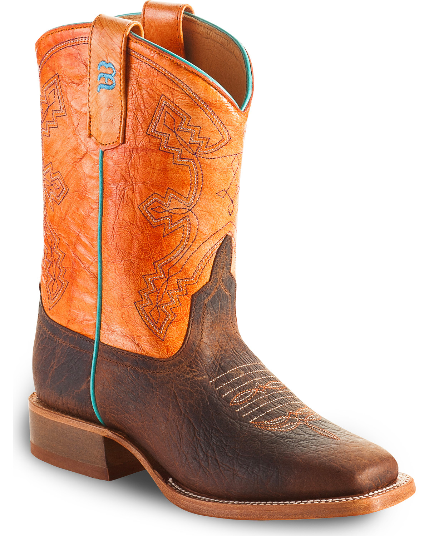 ae203047630 Anderson Bean Boys' Tangerine Marfalous Western Boots - Square Toe