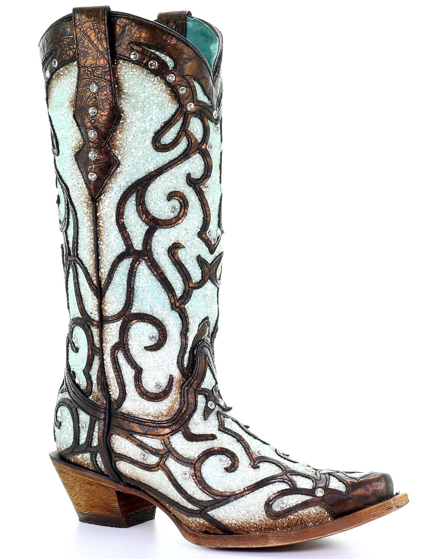 Corral Women s Sky Blue Glitter Western Boots - Snip Toe  c3f0f774d2