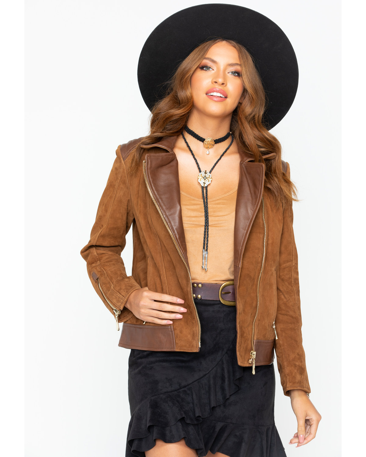 37e200eeae9e Scully Women s Leather and Suede Moto Jacket
