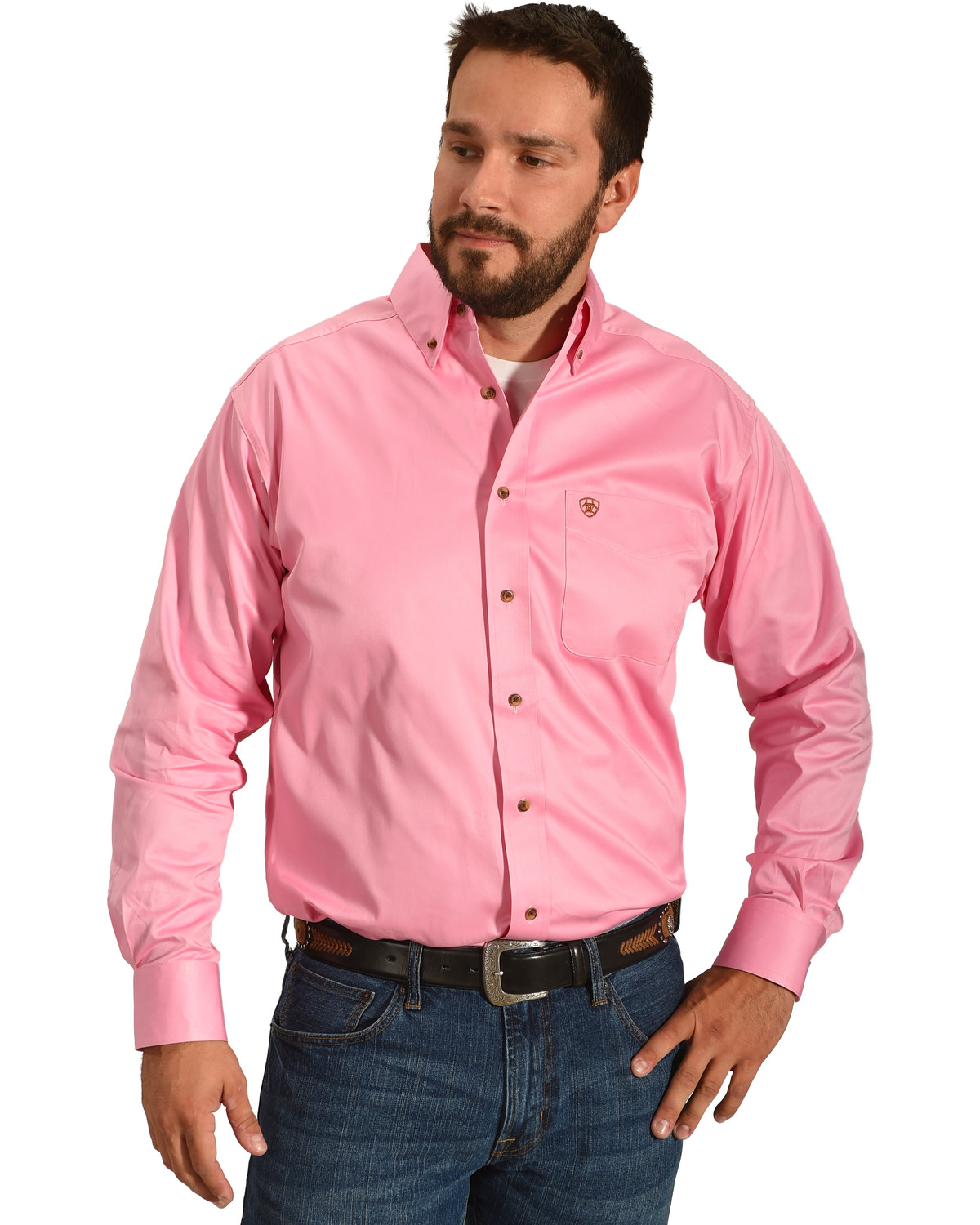 e3ead82e Zoomed Image Ariat Men's Pink Classic Fit Solid Twill Shirt, Pink, ...