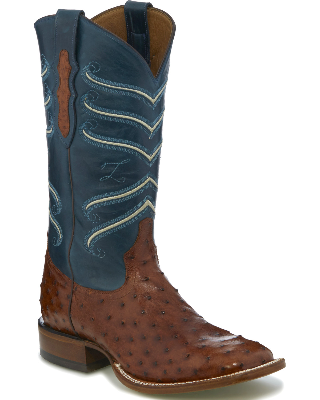b5c2e6626a4 Tony Lama Men's Brown/Blue Full Quill Ostrich Cowboy Boots - Square Toe