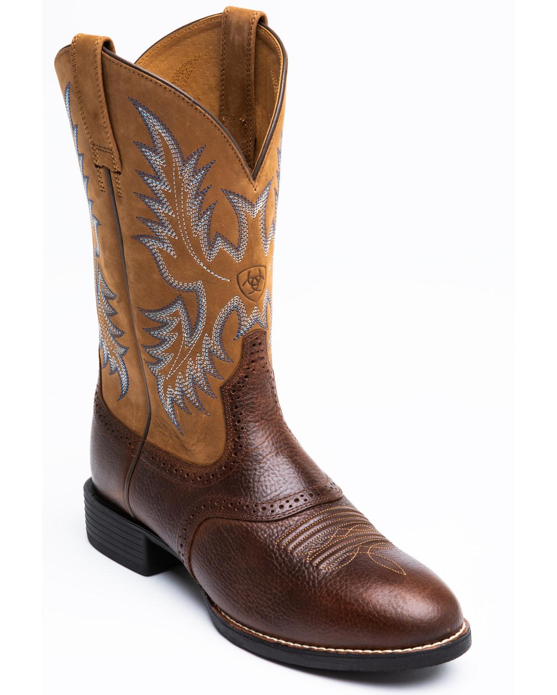Ariat Barrel Brown Stockman Cowboy Boots Round Toe