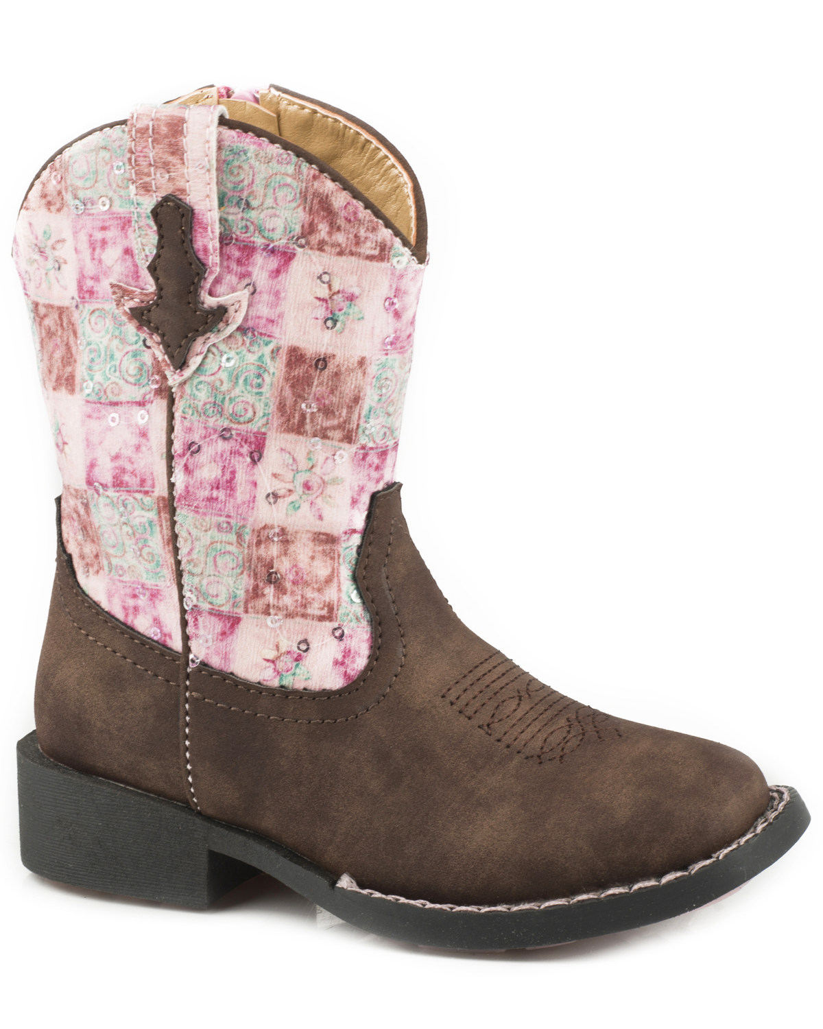 ccf60bd3659 Roper Toddler Girls' Floral Shine Sequin Cowgirl Boots - Square Toe
