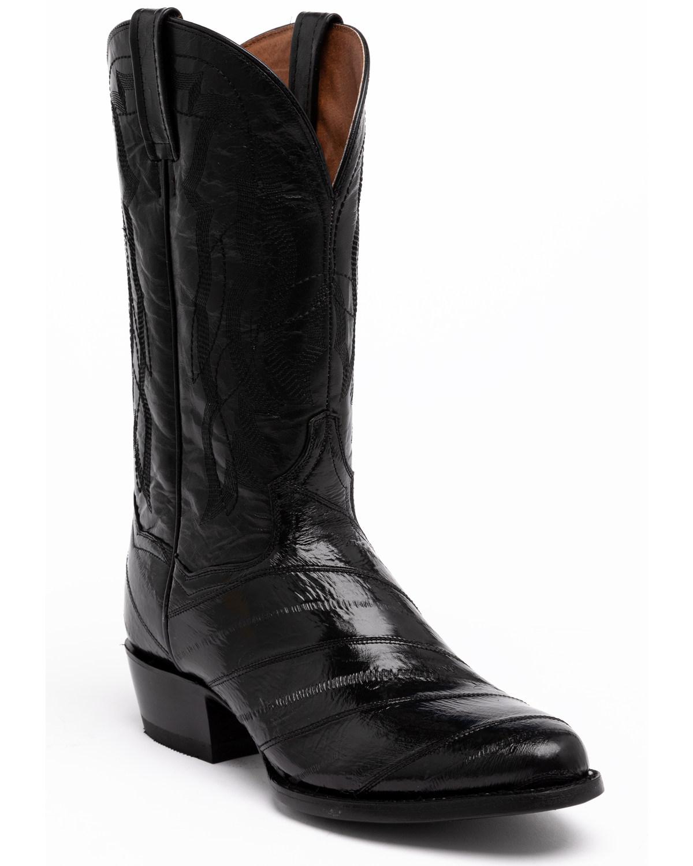 black eel skin cowboy boots