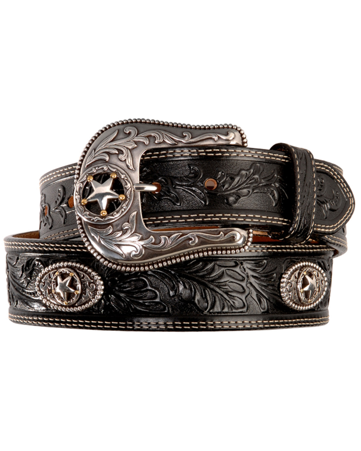 Justin Mens Black Silver Stars Embossed Belt