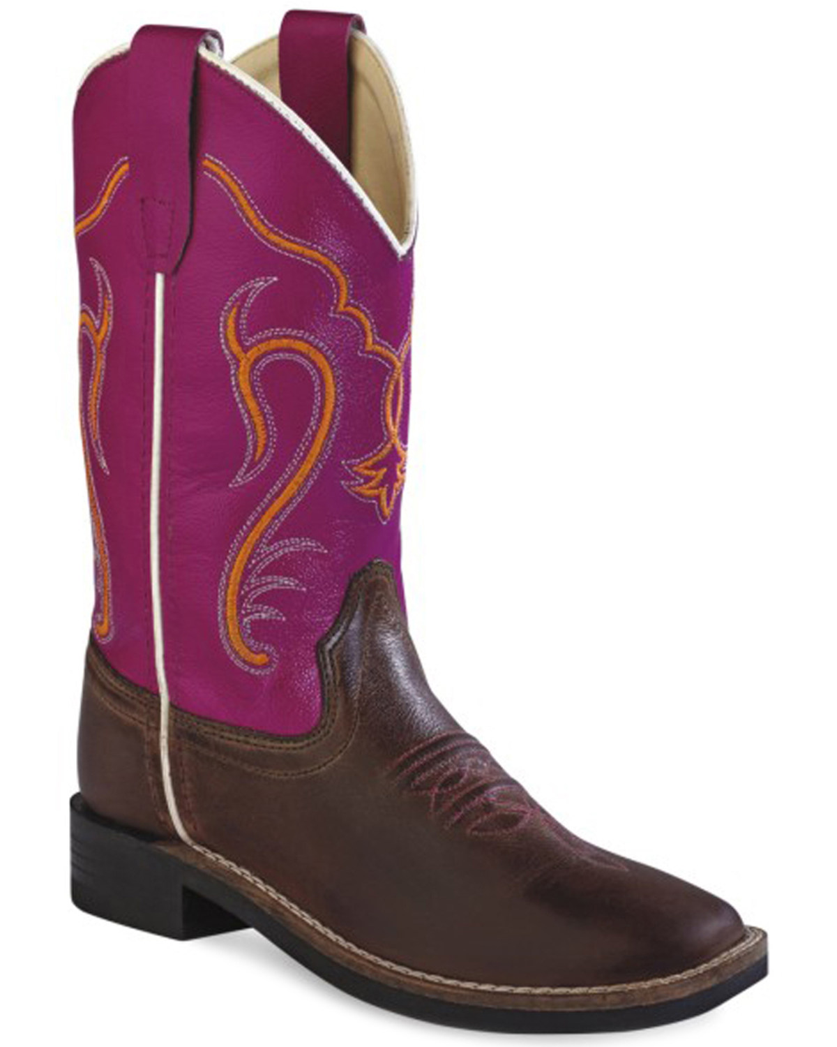 86a054465ae19 Old West Kids' Colorful Western Cowboy Boots - Square Toe