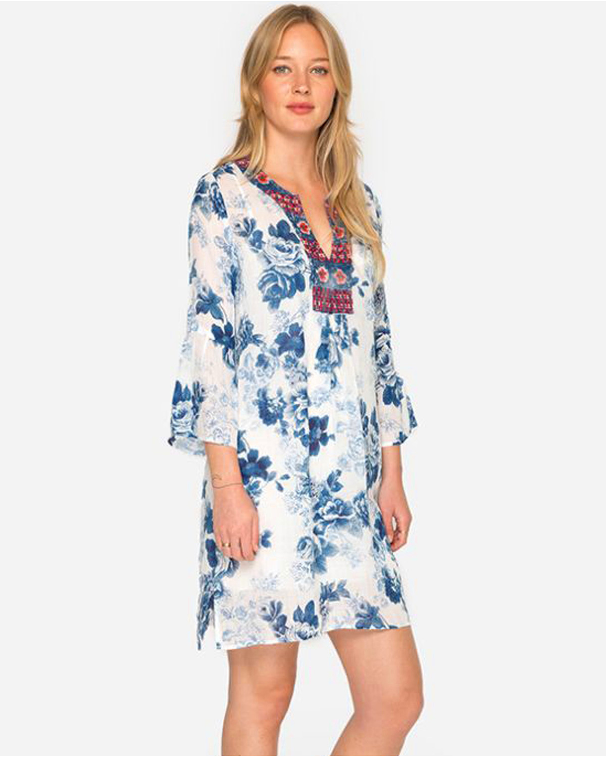 Johnny Was Women\'s Blue Flare Sleeve Tunic Dress - Plus Size | Boot Barn