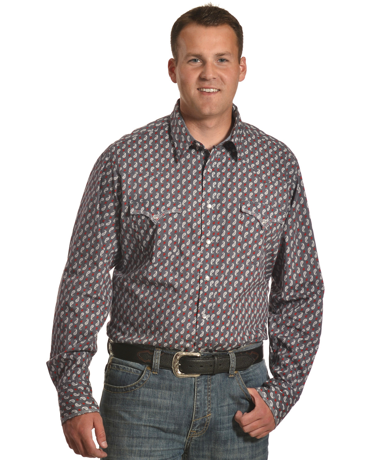 Roper Mens Blue 100/% Cotton White Star Plaid L//S Shirt