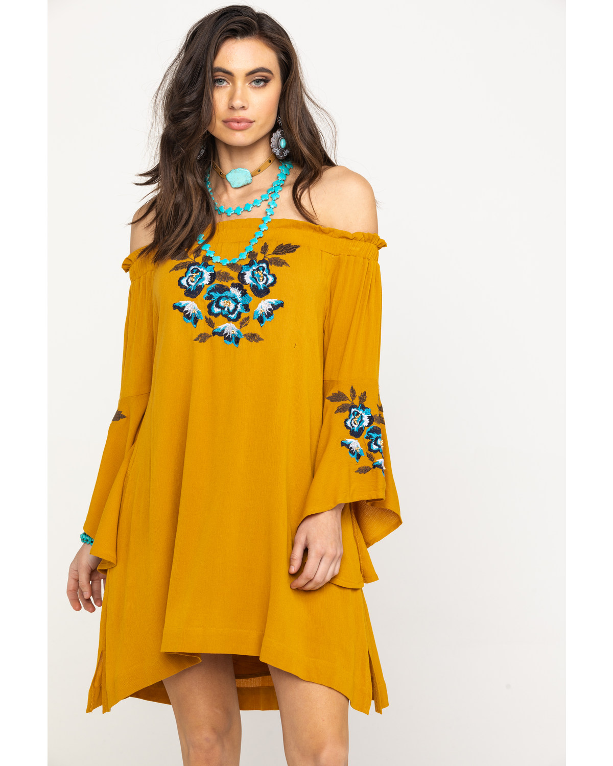 3188a017ae Zoomed Image Shyanne Women's Mustard Floral Embroidered Off Shoulder Bell  Sleeve Dress, Dark Yellow, hi-