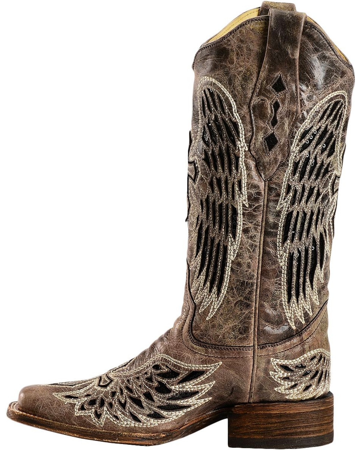 Corral Women S Cross And Wing Sequin Inlay Square Toe