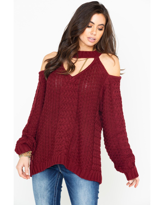 da1bd0a48458ef Elan Women s Cold Shoulder Keyhole Cable Knit Sweater