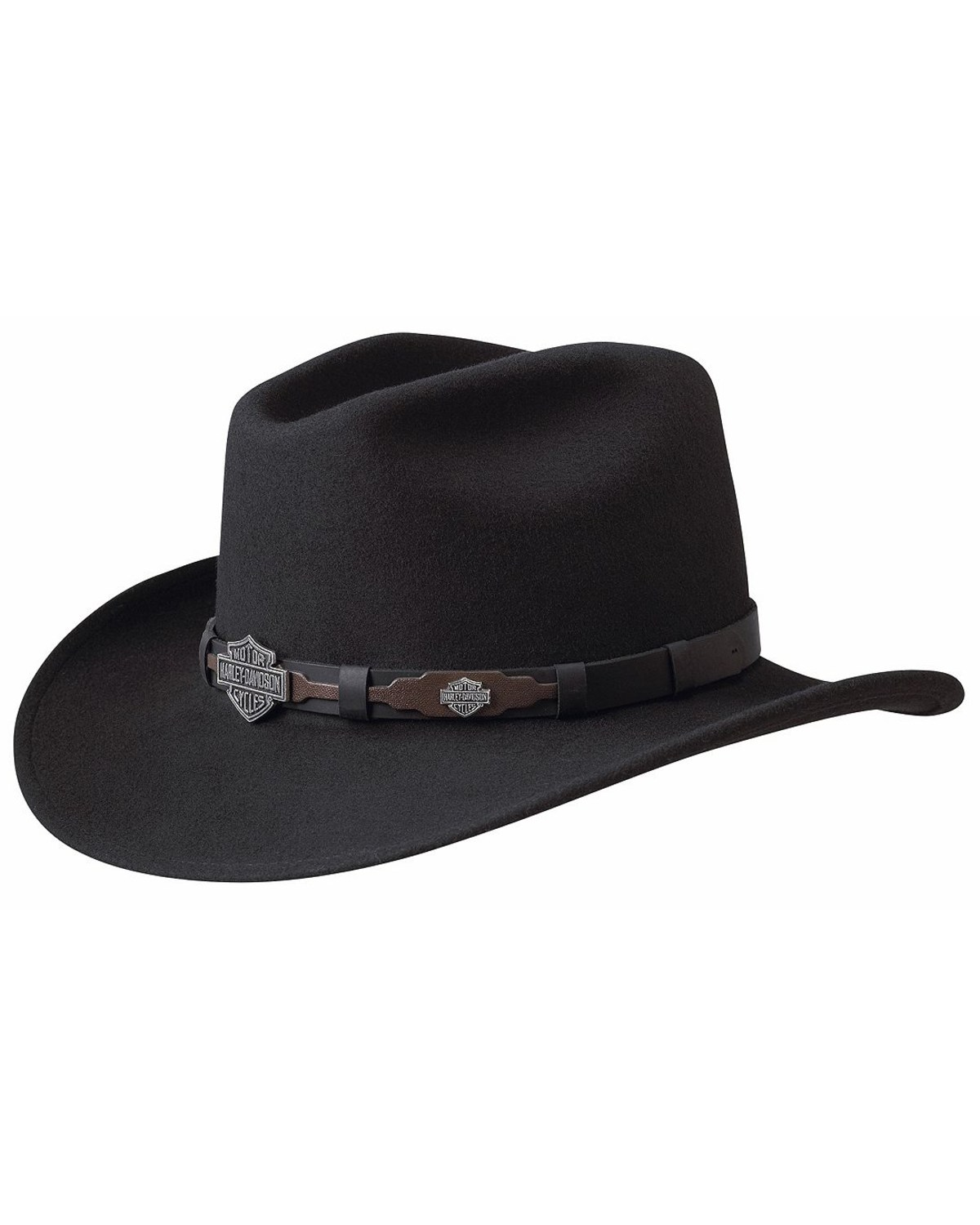 993000562 Harley Davidson Leather Overlay & Concho Wool Felt Crushable Cowboy Hat