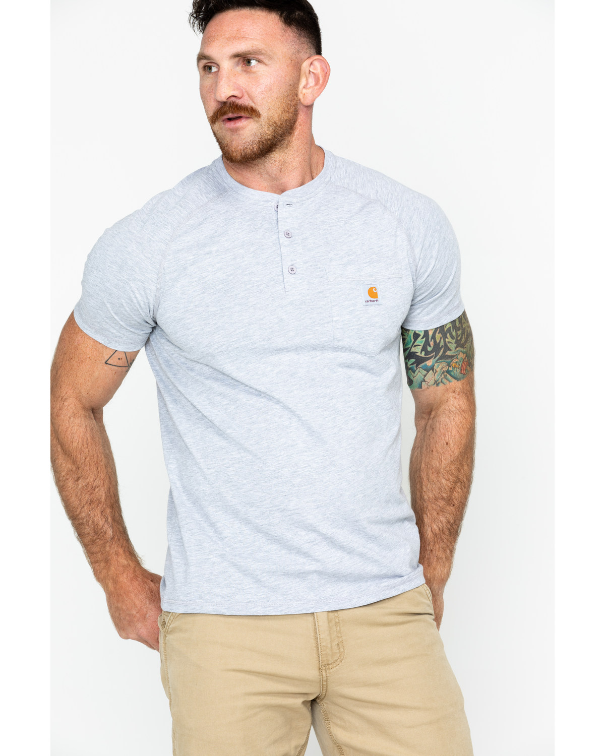 56fb4801 Zoomed Image Carhartt Force Cotton Henley Shirt, Grey, hi-res