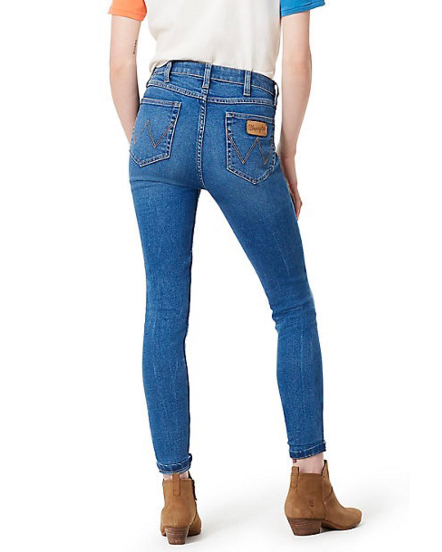 f3ba48338b Zoomed Image Wrangler Women's Modern Throwback Blue High Rise Skinny Jeans,  Indigo, ...