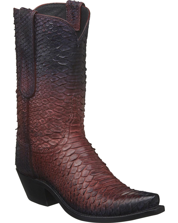 783568df99f Lucchese Women's Zara Antique Rose Python Western Boots - Snip Toe