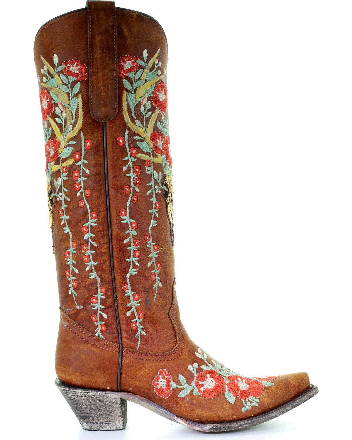 Corral Women's Deer Skull & Floral Embroidery Cowgirl Boots - Snip Toe,  Tan, hi