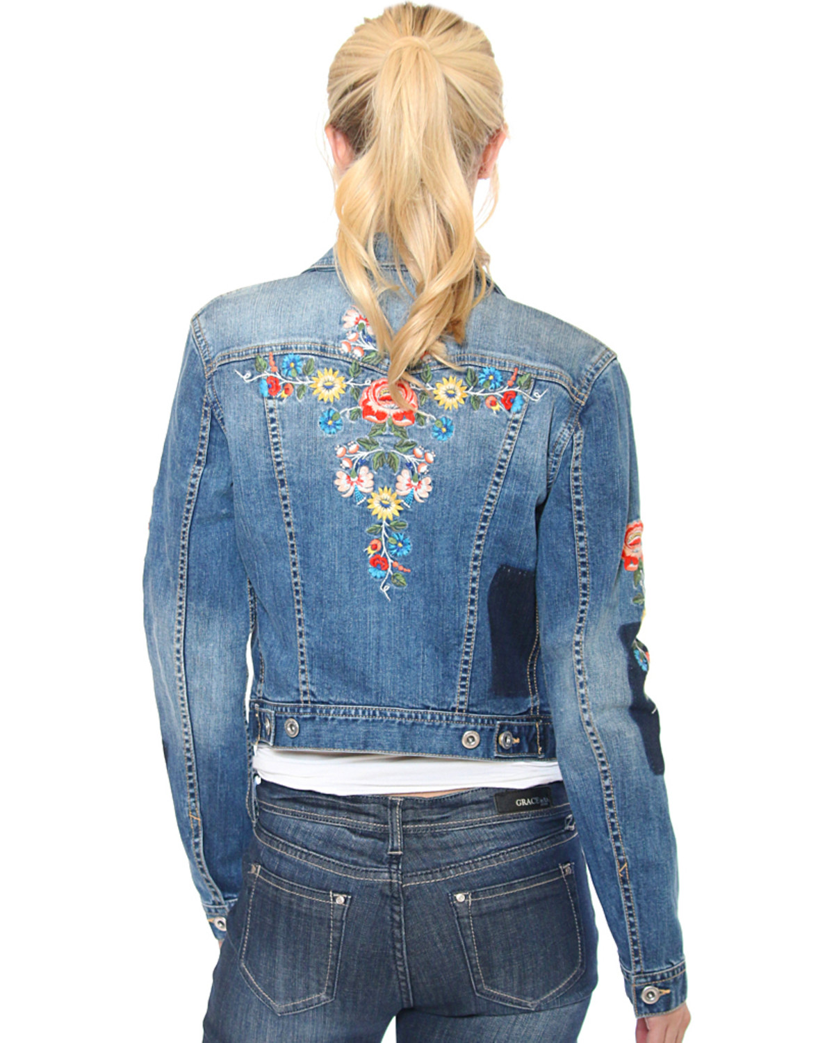 Grace In La Women S Indigo Floral Embroidered Jean Jacket Boot Barn