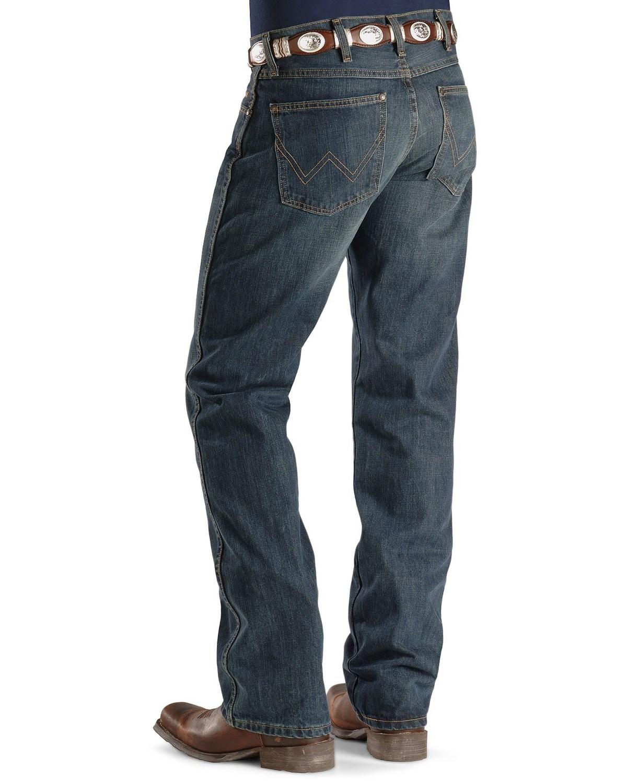 6a646167fd6146 Zoomed Image Wrangler Retro Men's Slim Fit Boot Cut Jeans, Med Wash, ...