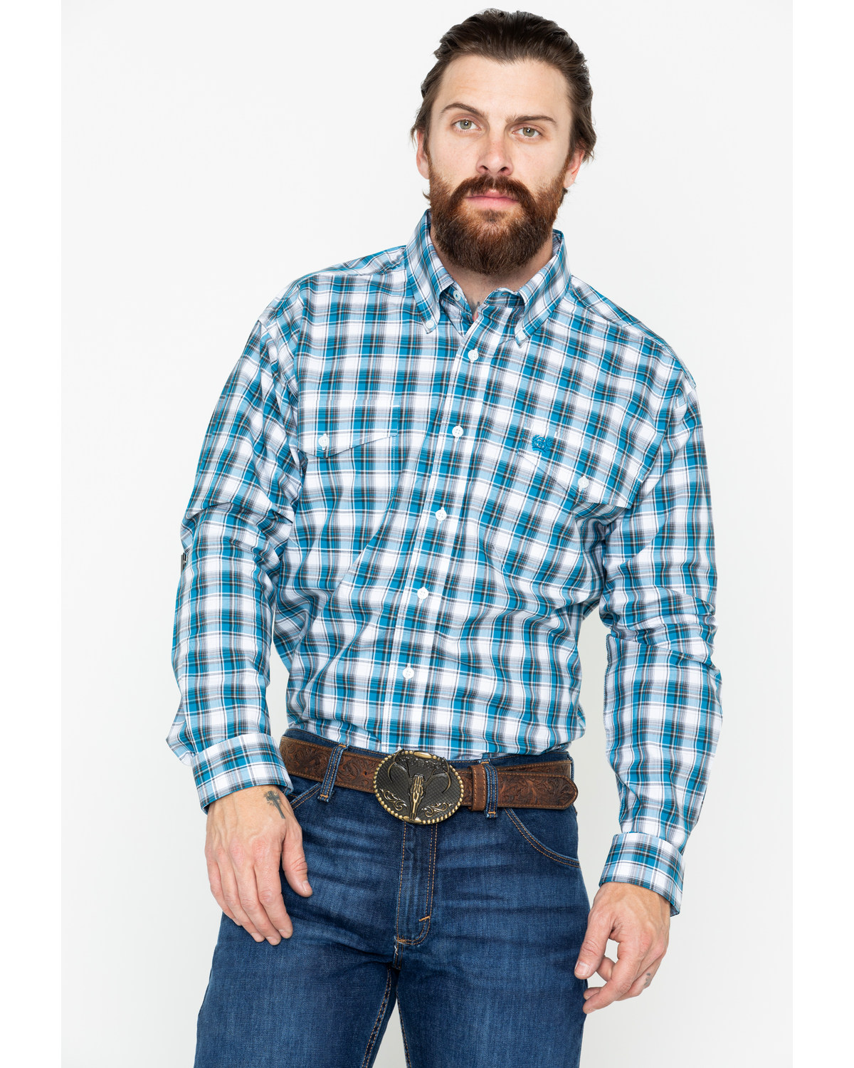 7f351196 Zoomed Image Cinch Men's Small Plaid Logo Pocket Long Sleeve Western Shirt  , Blue, hi-res. Zoomed Image ...