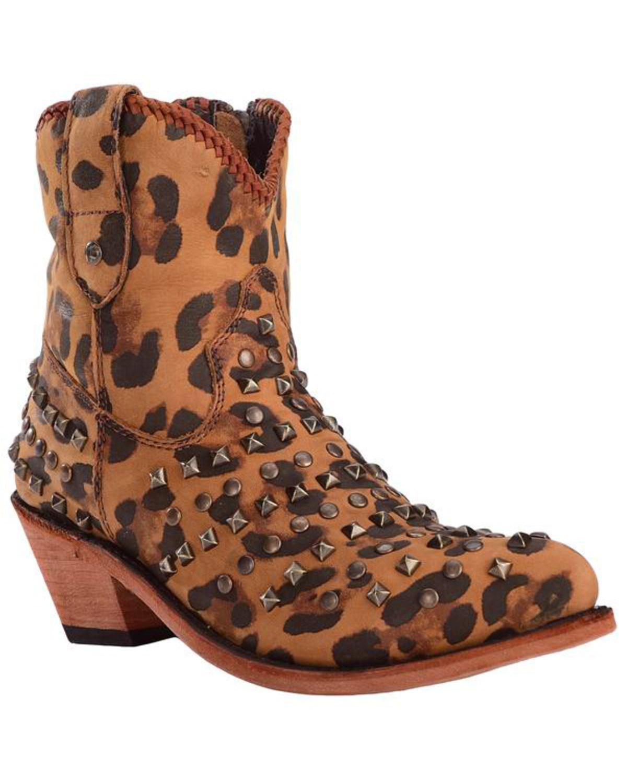 b1a81f59 Zoomed Image Liberty Black Women's Cheetah Fiona Studded Zipper Booties -  Pointed Toe , Cheetah, hi-