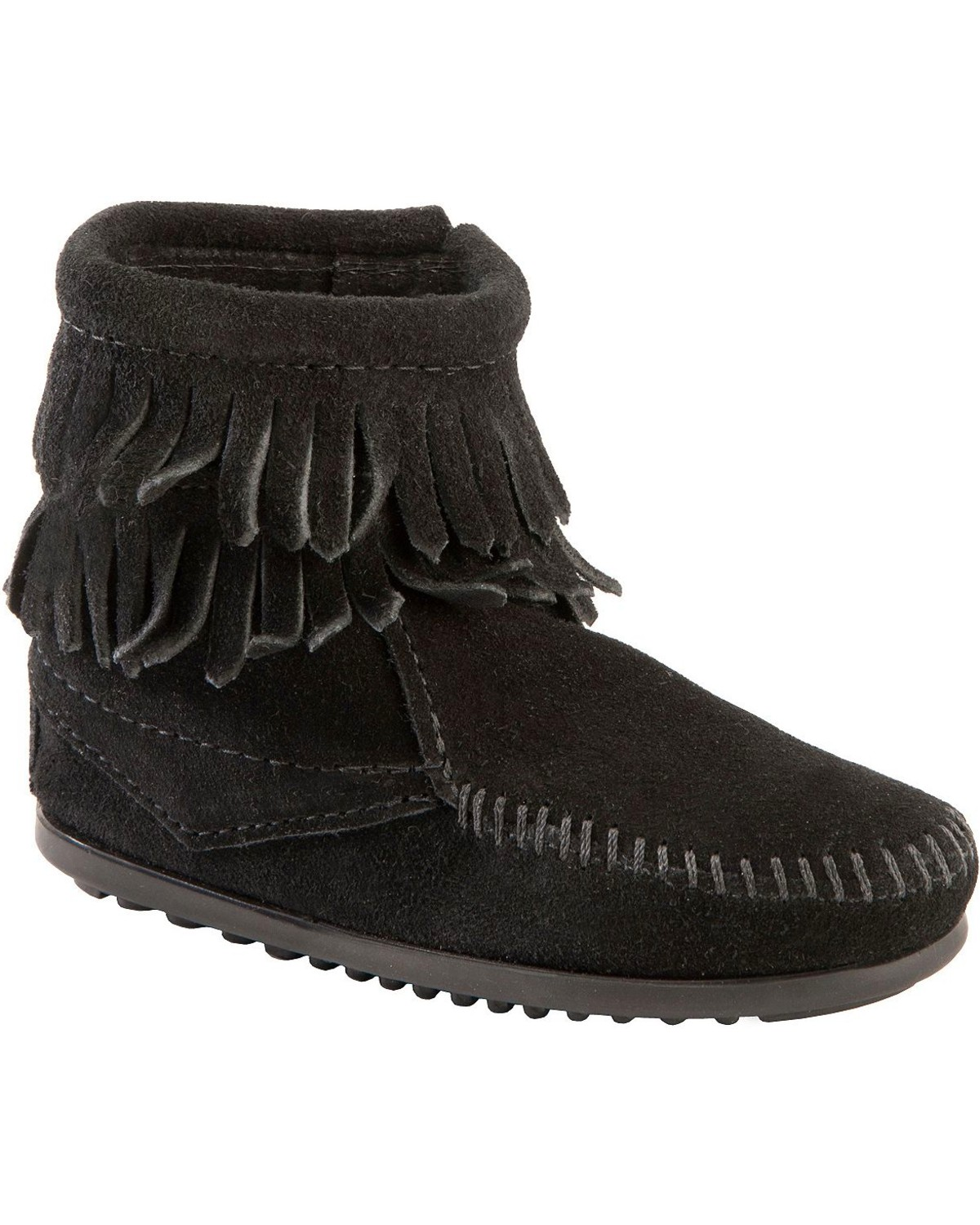 Minnetonka Girls  Double Fringe Side-Zip Moccasin Boot  43d10779e8a9