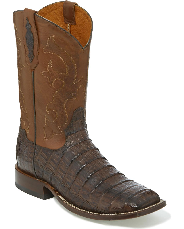 Tony Lama Men S Cafe Burnished Caiman Belly Cowboy Boots
