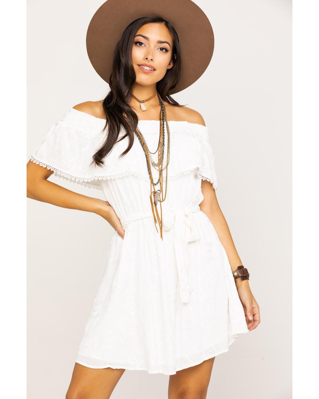 16448fbc0 Zoomed Image Miss Me Women's White Embroidered Eyelet Off Shoulder Dress,  White, ...