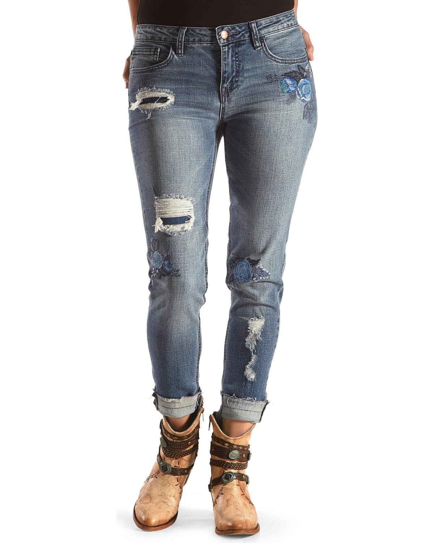 5b94713f27 Wrangler Women's Distressed Floral Skinny Jeans
