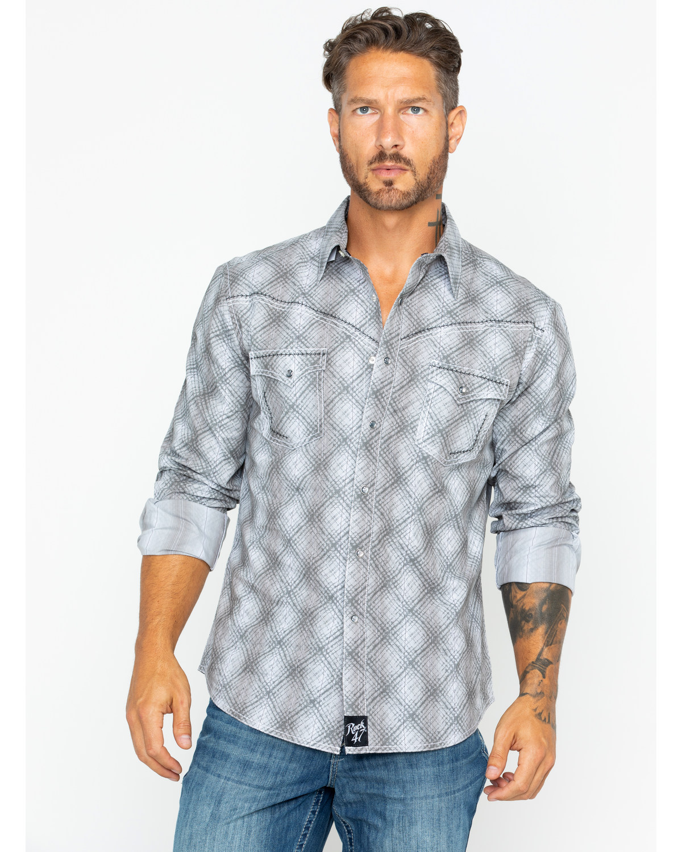 24de31cb ... Wrangler Men's Plaid Long Sleeve Western Shirt , Grey, hi-res. Zoomed  Image ...