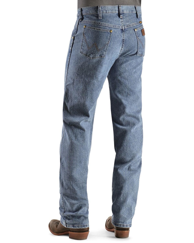 85d19502 Zoomed Image Wrangler Men's Premium Performance Advanced Comfort Jeans,  Light Stone, ...