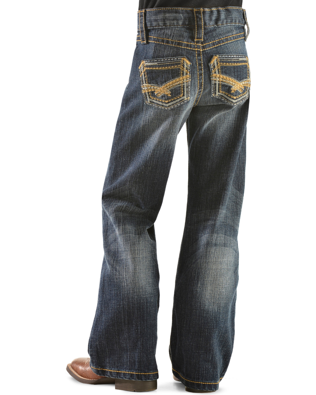 Wrangler Rock 47 >> Wrangler Rock 47 Girls Gold Embroidery Bootcut Jeans 4 6x Boot Barn