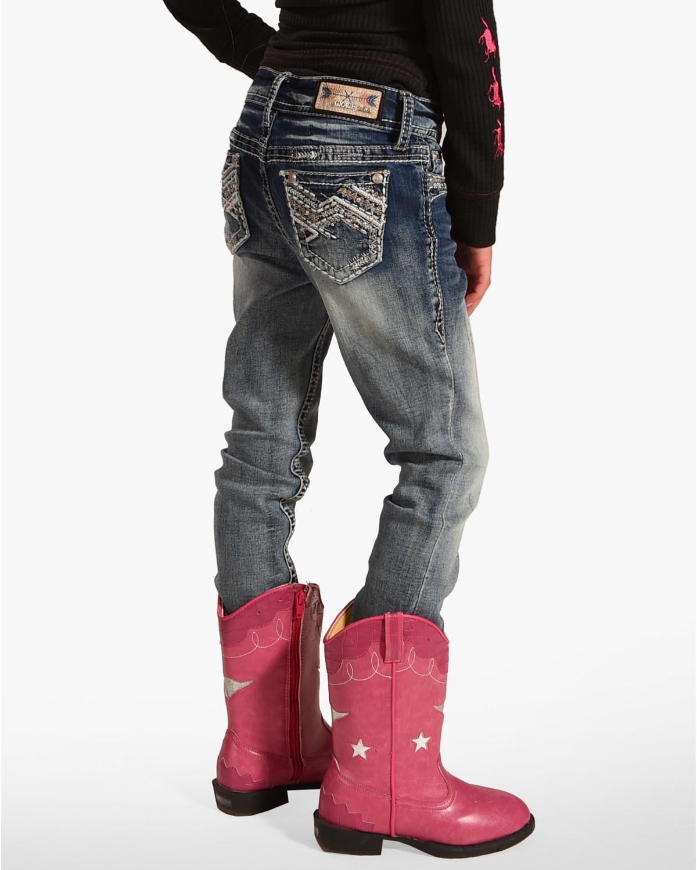 42f5b68c0 Zoomed Image Grace in LA Girls' Embroidered Pocket Skinny Jeans, Indigo, ...