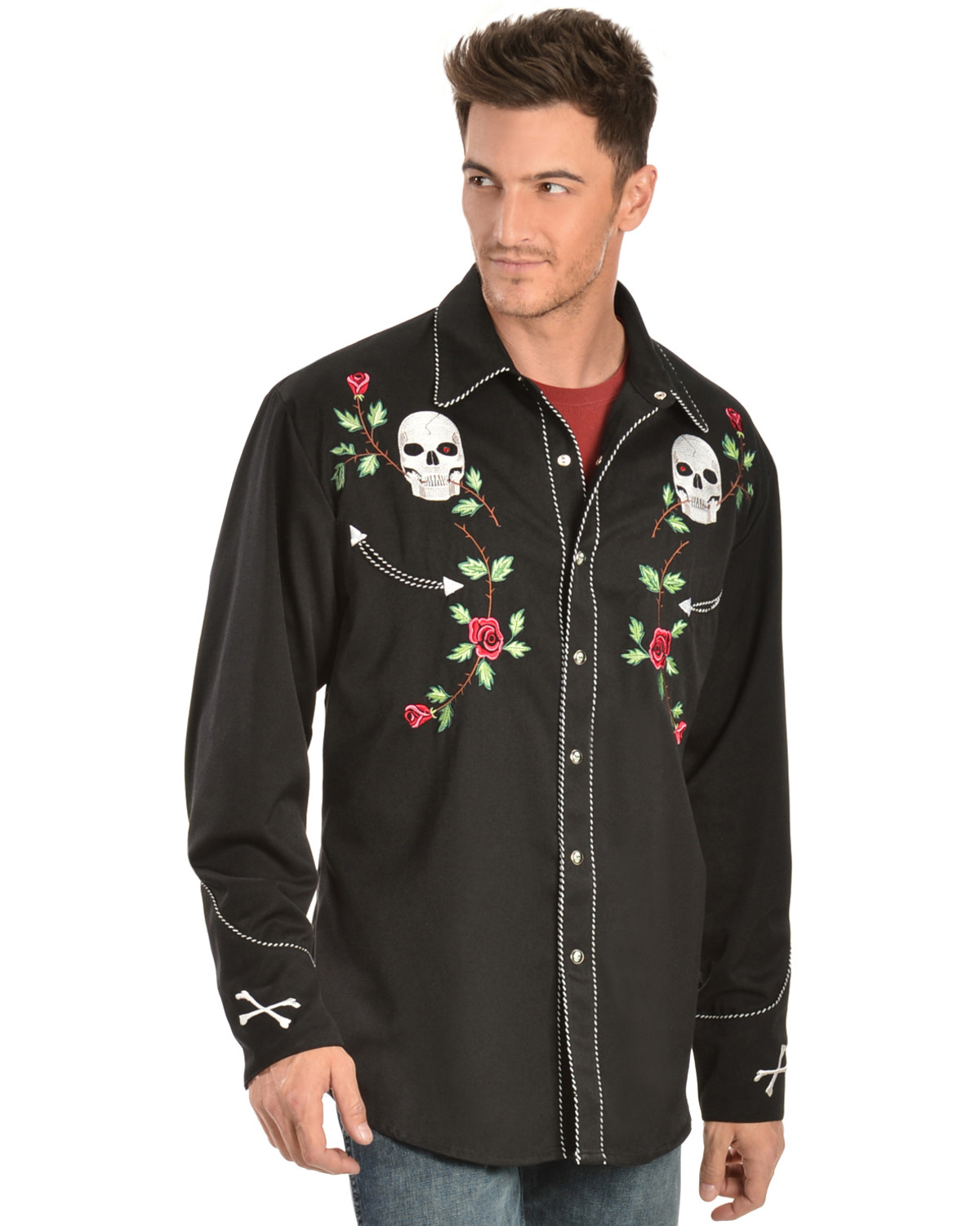 Men S Casual Inspiration 4: Scully Men's Skulls And Roses Western Shirt
