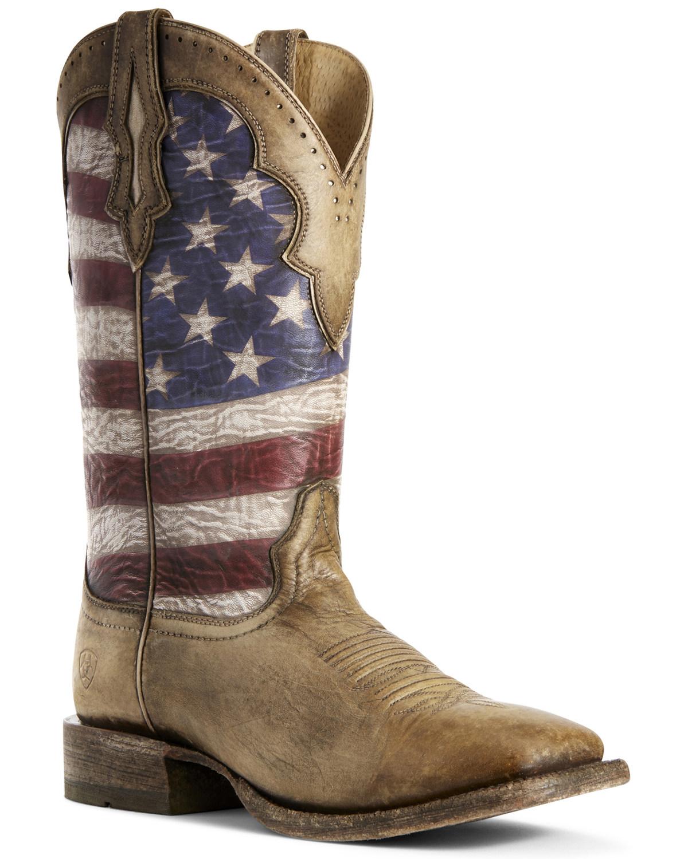 d8dd5b07e77 Ariat Men's Ranchero American Flag Western Boots - Wide Square Toe