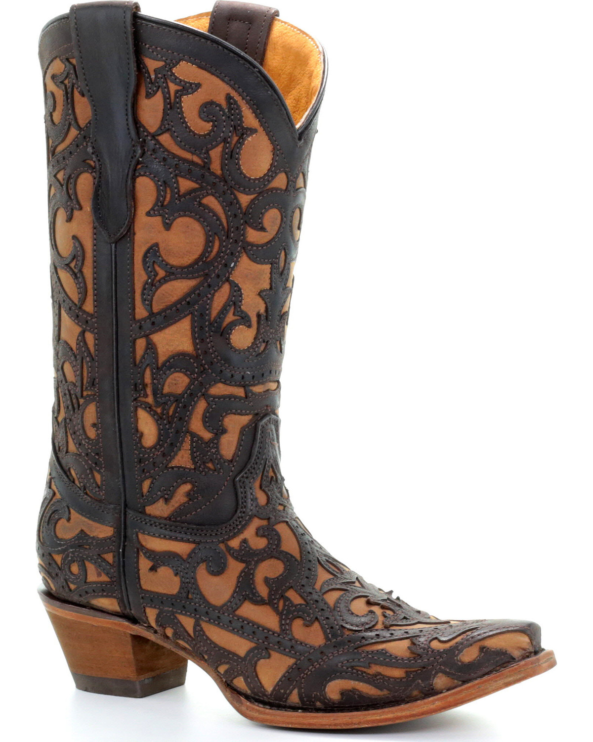0ff200b1f Corral Youth Girls  Brown Full Overlay Boots - Snip Toe