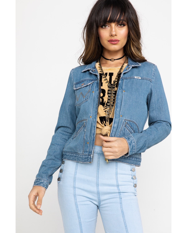2cca6d9b5d Zoomed Image Wrangler Women's Modern Heritage Venus Zip Denim Jacket ,  Blue, ...